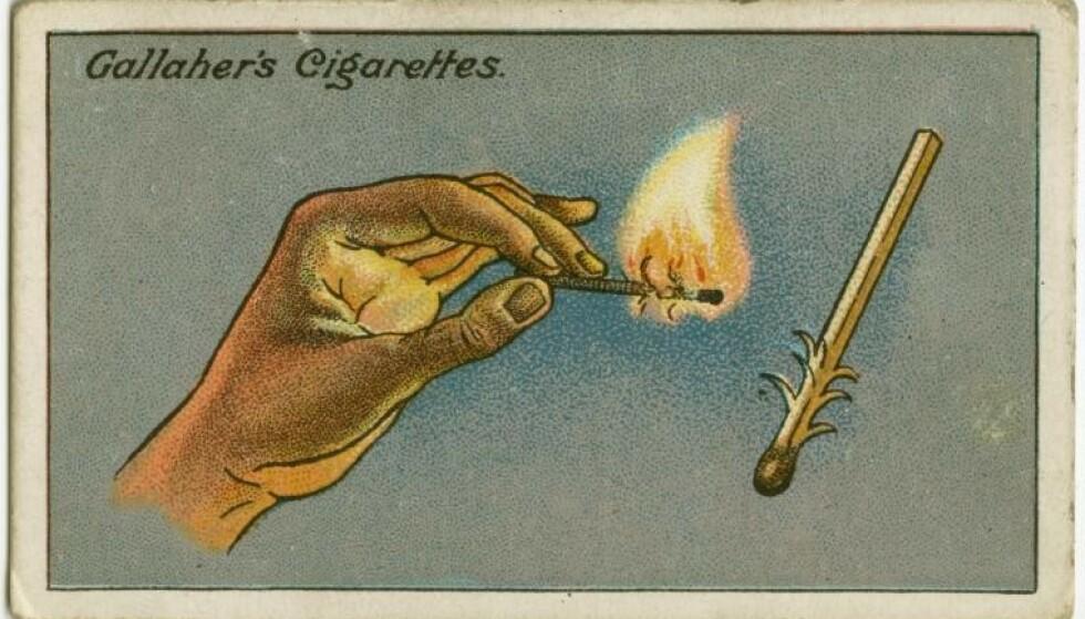 KJERRINGRÅD: Slik ser kortet med fyrstikk-rådet ut. Foto: Gallaher's Cigarettes