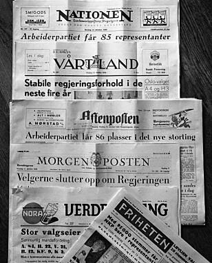 DEKNINGEN: Avisenes oppslag etter stortingsvalget i 1949. Arbeiderpartiet er den store vinneren, med 85 av de 150 mandatene. Avisen Friheten (foran) fastslår at NKP får én representant, men i virkeligheten mistet partiet alle sine 11 mandater. (Foto: NTB scanpix)