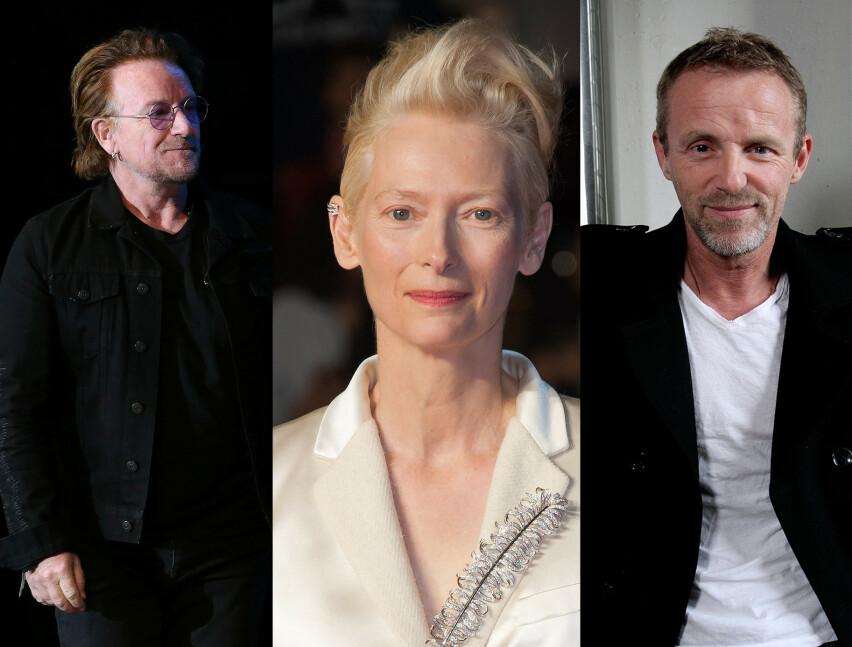 Bono, Tilda Swinton og Jo Nesbø fyller alle 60 år i løpet av 2020. Foto: NTB Scanpix.