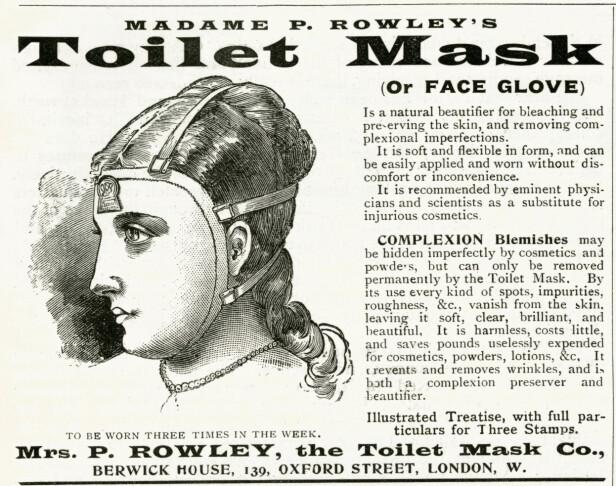 HANNIBAL LECTER: Opp gjennom årene har det florert med ulike typer masker som lover skjønnhet. Annonsen for Madame P. Rowley's «Toilet Mask» fra 1895 lover å fjerne alle ujevnheter fra huden. Den skulle også være enkel å ha på seg. Foto: NTB Scanpix