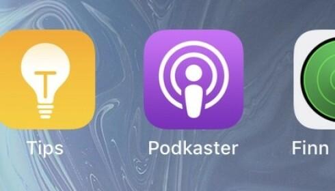 POPULÆR: På Iphone ser podcast-appen slik ut. Her får du forslag til populære podcaster fra hele verden. Du kan også søke etter podcaster du ønsker å høre på. Foto: Karin Madshus
