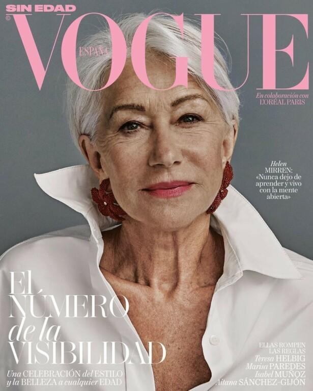 Vi.no elsker Helen Mirren med alle sine fregner og rynker på forsiden av spanske Vogue. Foto: Faksimile Spain Vogue