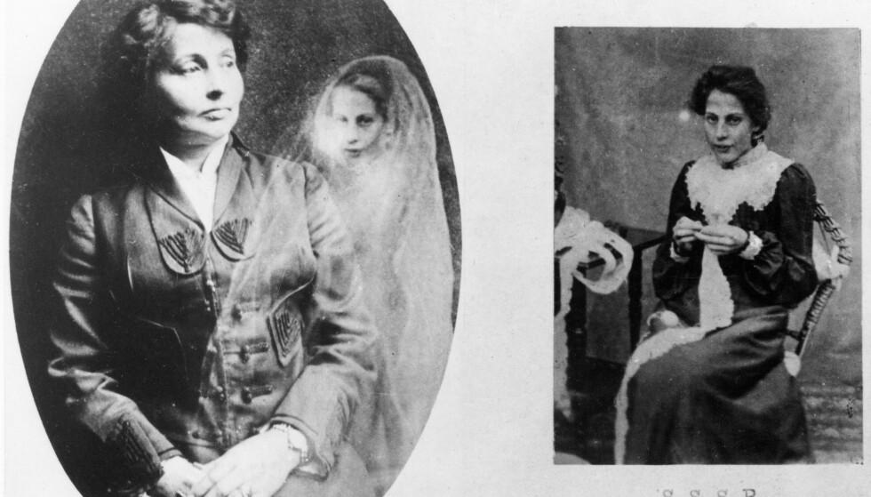 FOTOTRIKS: William Hope gjorde seg kjent som åndefotograf. Her ser vi til venstre en kvinne sammen med ånden til hennes avdøde søster. Bildet til høyre viser søsteren i levende live. Pussig nok er søsterens ansiktsuttrykk identisk på de to bildene.