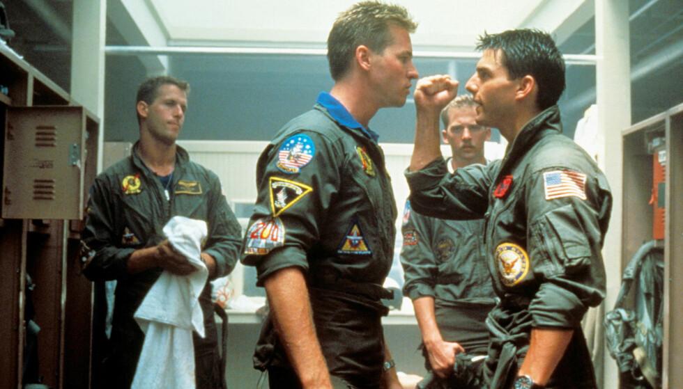 RIVALISERING: Tom Cruise og Val Kilmer spilte erkerivaler i Top Gun. Begge er med i oppfølgeren Top Gun: Maverick. Foto: NTB Scanpix