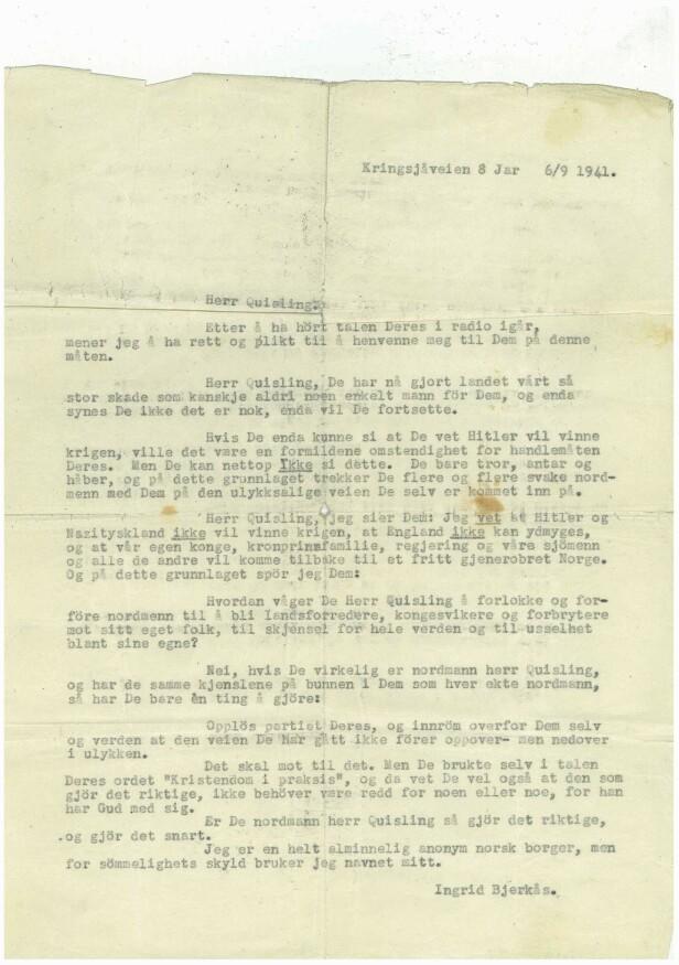 <strong>MOTSTANDSBREV:</strong> Ingrid Bjerkås var sikker på at Hitler ikke ville vinne krigen. Foto: Digitalarkivet