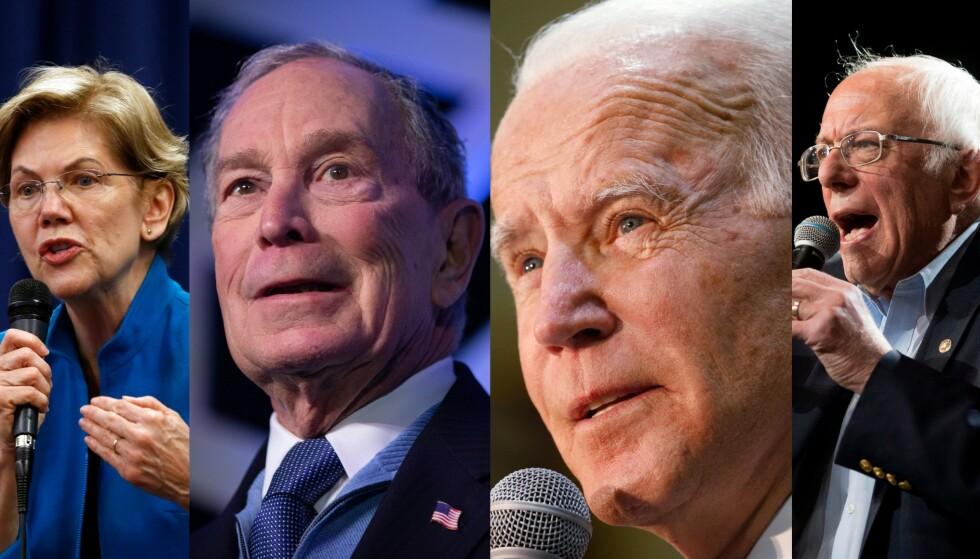 Elizabeth Warren (71), Michael Bloomberg (78), Joe Biden (77) og Bernie Sanders (79) kjemper alle om å bli demokratenes presidentkandidat. Sittende president Donald Trump er heller ingen unggutt med sine 73 år. Foto: NTB Scanpix