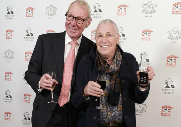 Bankmannen Knut og blomstermannen Finn i forbindelse med utdelingen av Wenche Foss' ærespris for 2018 og Se og Hørs 40-årsjubileum i Gamle Logen. Foto: Berit Roald/NTB Scanpix