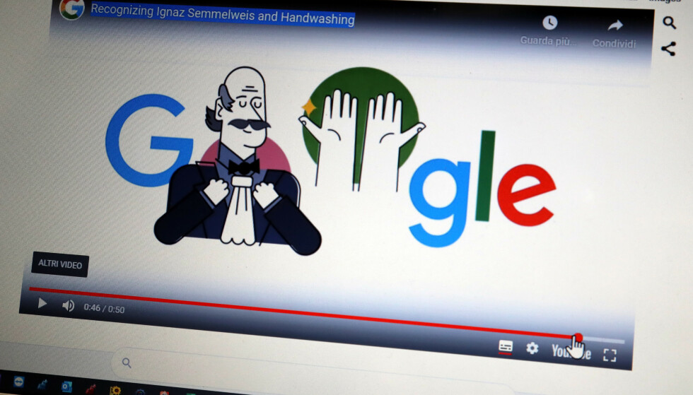HYLLES AV GOOGLE: I 2020 blir Ignaz Semmelweis hyllet av Google i forbindelse med at hele verden kjemper mot coronaviruset. Foto: NTB Scanpix