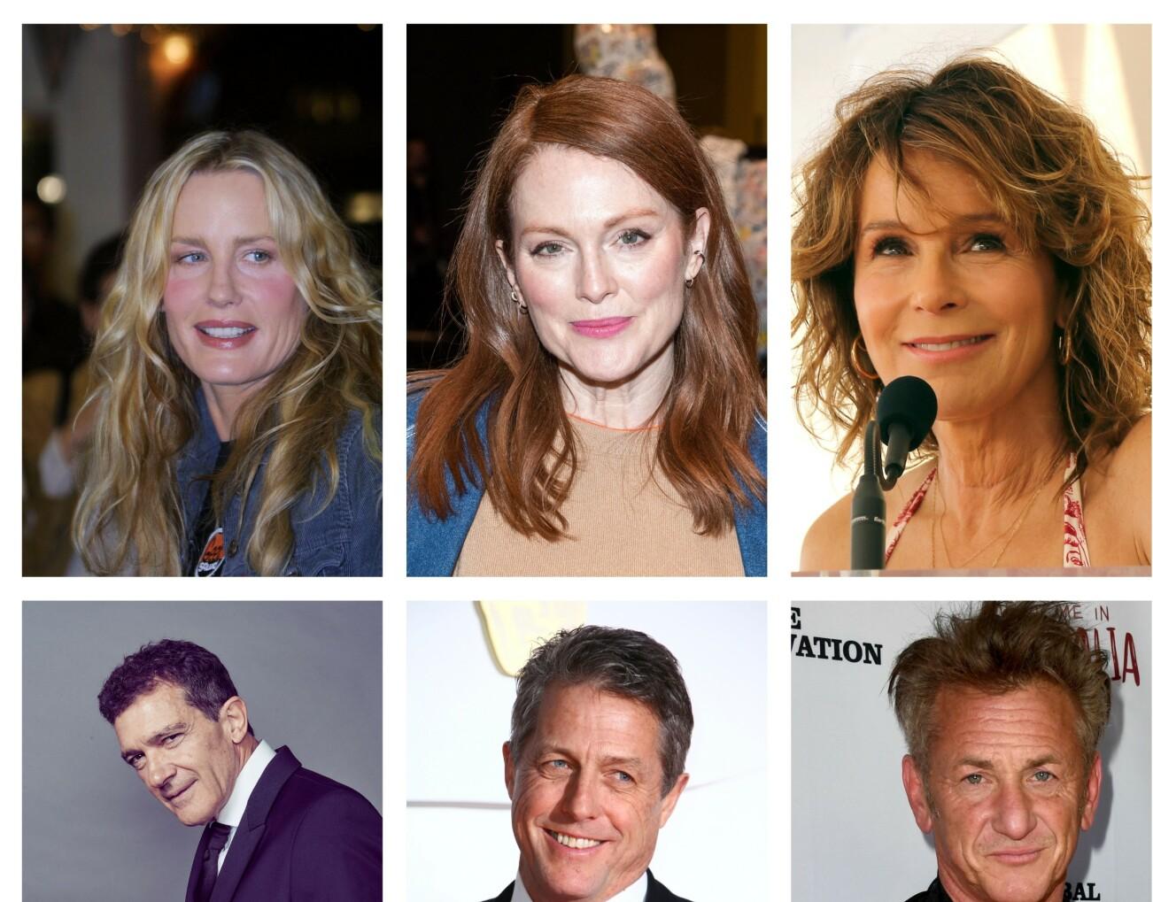 Skuespillerne Daryl Hannah, Julianne Moore, Jennifer Grey fra Dirty Dancing, Antonio Banderas, Hugh Grant og Sean Penn blir alle 60 i løpet av 2020. Foto: NTB/Scanpix
