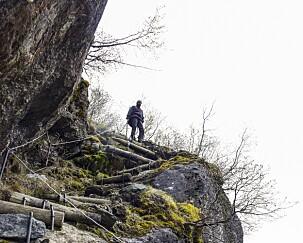 Bjørnestigen er en liten omvei fra stien, men byr på spektakulær utsikt. Gå forsiktig! Foto: Torild Moland