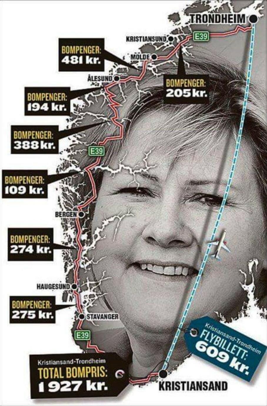Bildet som har versert på Facebook i det siste skal vise at det er langt dyrere å kjøre enn å fly fra Kristiansand til Trondheim. Men er det sant? Foto: Skjermdump fra Facebook/VG