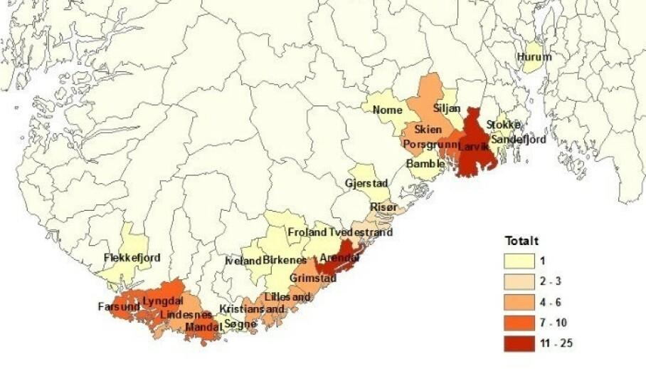 Fargene på kartet indikerer registrerte TBE-tilfeller meldt i perioden 1994-2017 med antatt smittested i Norge. Jo mørkere farge, jo flere registrerte smittede. Illustrasjon: Kartverket via GeoNorge/Folkehelseinstituttet