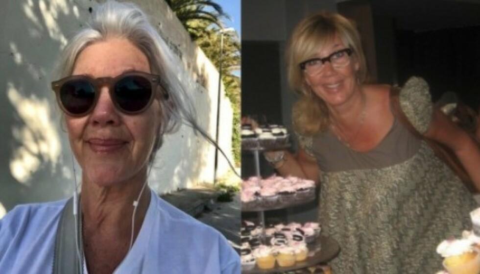 På bildet til høyre hadde Hilde Ottem fortsatt sin varme, kastanjebrune hårfarge. Da det ble grått, vokste en kald, nesten hvit manke fram. Foto: Privat