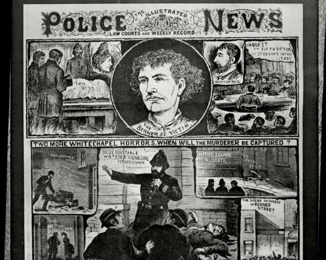 Seriemordene i Whitechapel solgte mange aviser - så mange at journalister ble mistenkt for å skrive falske brev til politiet fra drapsmannen. Her er en illustrert gjenfortelling av hvordan drapene og etterforskningen skal ha foregått. Foto: ANL/REX/NTB Scanpix