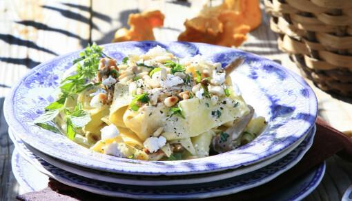 Pasta med sopp og chevré