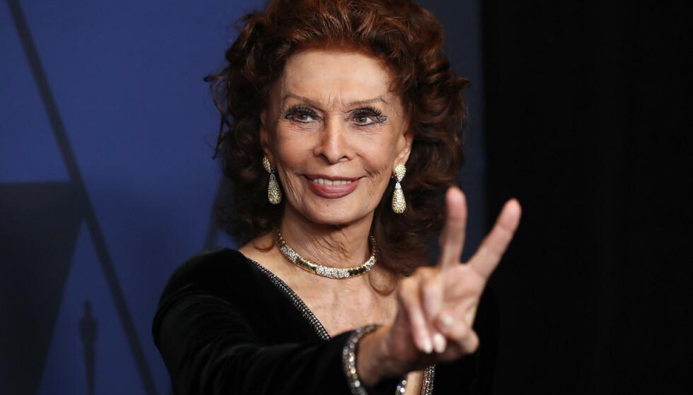 FILMAKTUELL: Sophia Loren fotografert under Governors Awards i Los Angeles i 2019. Foto: Reuters Mario Anzuoni/NTB