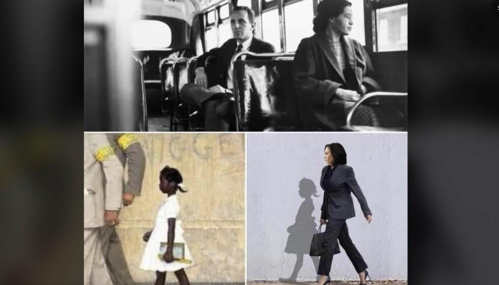 STORE KVINNER: Det er bare noen tiår siden fargede ikke fikk gå på samme skole som hvite eller måtte vike for hvite personer på bussen. Flere kvinner som Rosa Parks og Ruby Bridges har banet vei for USAs nye visepresident Kamala Harris. Foto: Skjermdump Facebook