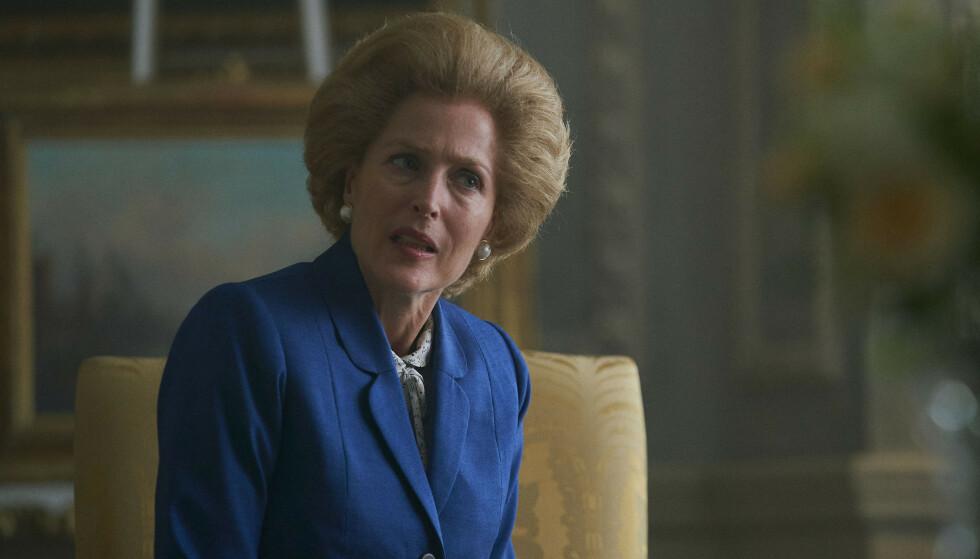 JERNKVINNEN: Gillian Anderson spiller Margaret Thatcher. Foto: Des Willie /Netflix/AP/ NTB