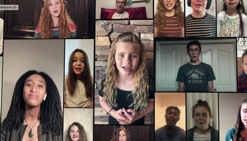 One Voice Children´s choir fra Utah har 140 medlemmer i alderen 4 til 17 år. Nå synger de hjemmefra, og berører en hel verden. Foto: Skjermdump fra YouTube