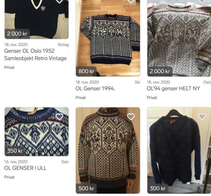 BRUKT STRIKK: OL-genseren strikket etter mønster fra Dale of Norway kan kjøpes for noen hundrelapper eller for et par tusen kroner. Skjermdump: Finn.no