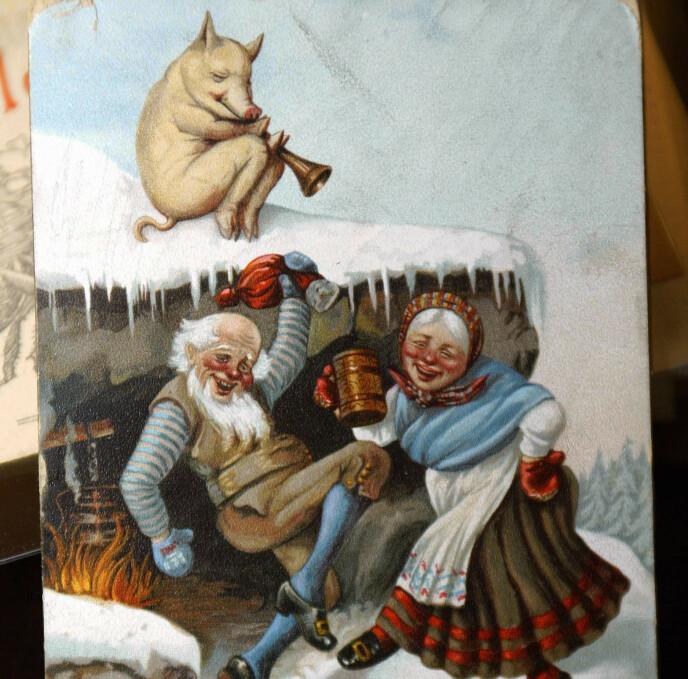 RØDMUSSET NISSE: I 1890-årene ble Henrik Ibsen karikert på julekortene. Senere var det ikke uvanlig å sende julekort med bilde av lettere berusede nisser eller av forelskede par. Foto: Knut Falch/NTB