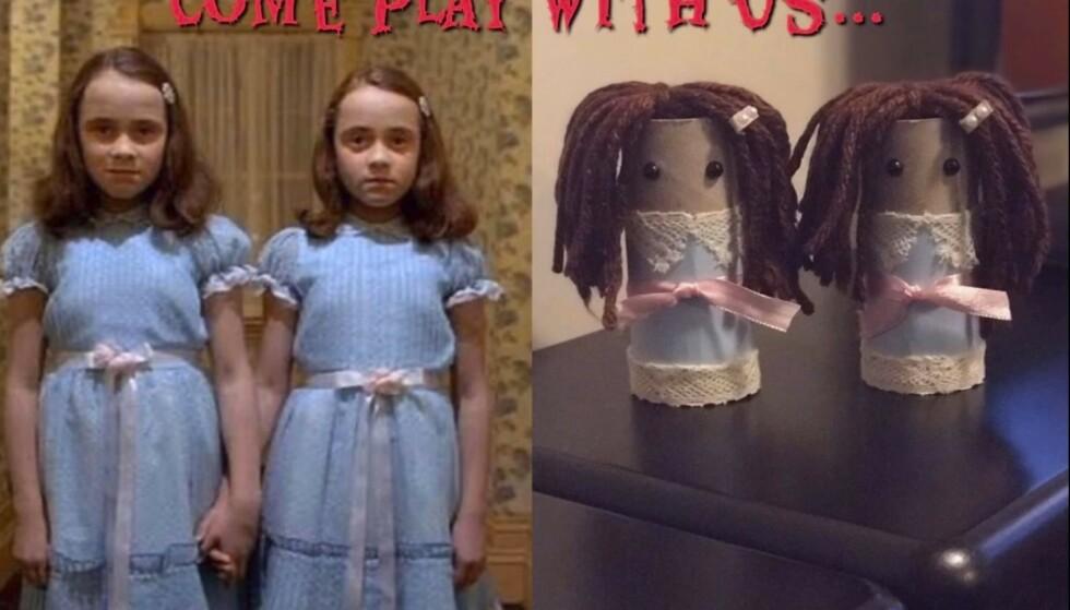 SKUMMELT: Tvillingene fra skrekkfilmen «Ondskapens hotell», her i Trines dorulltolkning.