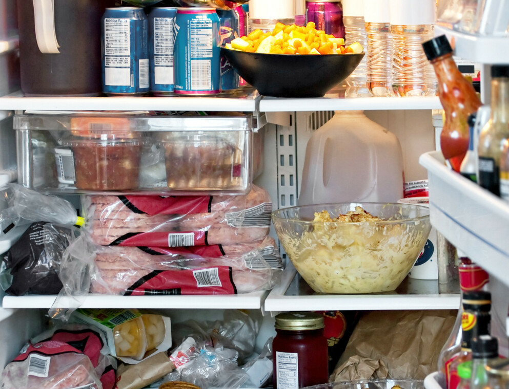 FEIL TEMPERATUR: Når vi fyller kjøleskapet til randen, som før butikkene stenger for jul, stiger temperaturen. Da blir maten fortere dårlig. Illustrasjonsfoto: Shutterstock/NTB