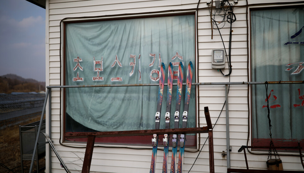"""Pairs of skis are seen at an abandoned ski rental shop in front of the Alps Ski Resort located near the demilitarised zone separating the two Koreas in Goseong, South Korea, January 17, 2018. REUTERS/Kim Hong-Ji     SEARCH """"KOREA ALPS"""" FOR THIS STORY. SEARCH """"WIDER IMAGE"""" FOR ALL STORIES."""