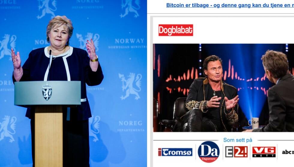KJENTE ANSIKTER: Erna Solberg og Petter Stordalen er begge blitt brukt av svindlere som forsøker å lure penger fra vanlige folk. Foto: NTB/Skjermdump
