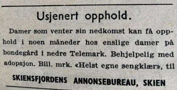 Bill.mrk: Helst egne sengeklær. Stikkordet her var «usjenert». Ingen skulle vite at du var gravid utenfor ekteskap. Foto: NRK