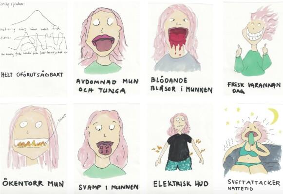 Covid-19s mange ansikter. Karin Nygårds har hittil opplevd førti, og tegnet dem alle.