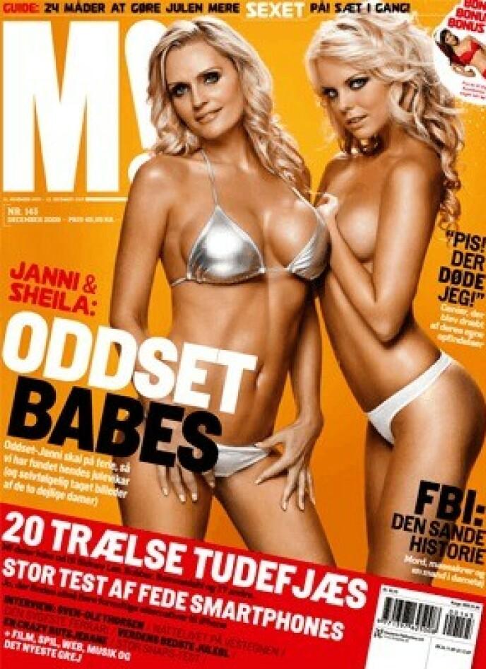 DEN GANG DA: Janni var Danske Spils ansikt utad i en årrekke. Klart man også da måtte stille lettkledd på forsiden av et herremagasin. Foto: Faksimile fra M!