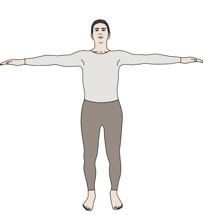 RITE 1: Stå oppreist og avslappet, med armene løftet rett ut til sidene og strukket ut i skulderhøyde. La kroppen dreie mot høyre, så raskt som det føles naturlig. Hold høyre hæl i bakken under dreiebevegelsen, mens venstre fot styrer bevegelsen rundt med små skritt.