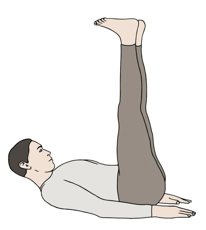RITE 2: Ligg på ryggen, avslappet i utstrakt stilling, med hendene langs sidene. På innpust løfter du hodet mot brystet, samtidig som du løfter beina opp i loddrett stilling. På utpust senker du beina og hodet langsomt tilbake i utgangsstilling. Pust inn gjennom nesen og ut gjennom nese og munn.