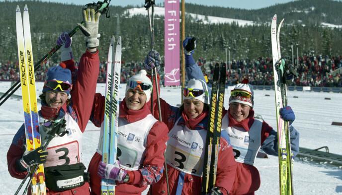 På hjemmebane: Under OL på Lillehammer i 1994 var Trude (t.v.) på stafettlaget som tok sølv. De andre tre var Inger Helene Nybråten, Elin Nilsen og Anita Moen. FOTO: BJØRN SIGURDSØN/NTB