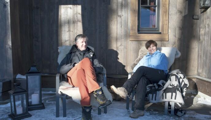 Frisone: Både Hans Petter og Ingrid jobber i oljebransjen i Stavanger, det siste året har de begge to hatt hjemmekontor. Og når hjemme er det samme som jobb, blir hytta en ekstra viktig frisone. Foto: Irene Jacobsen