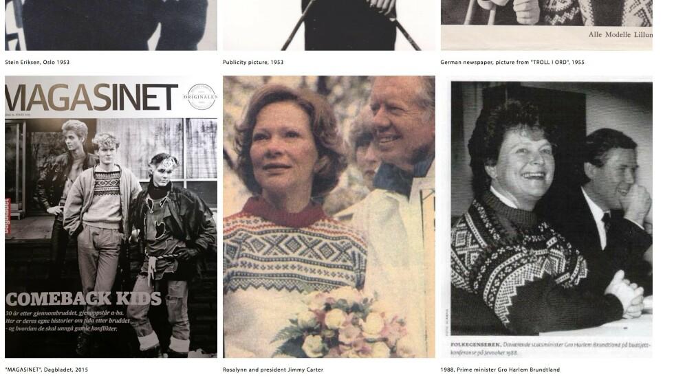 KJENDISPLAGG: Gutta i A-ha, presidentfrue Rosalynn Carter og Gro Harlem Brundtland var blant dem som kledde seg i «Marius»-genseren. Foto: Skjermdump fra Unnfromnorway.no
