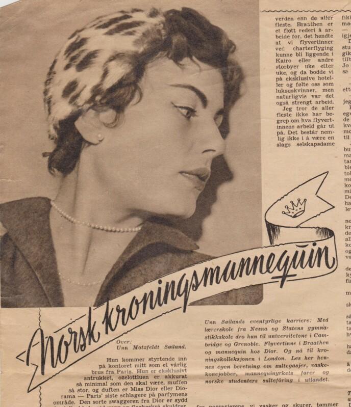 MANNEKENG: Unn Søiland Dale var en av de første som reiste til utlandet etter krigen. Det førte til mannekeng-oppdrag blant annet i Paris. Artikkelen om henne som «kroningsmannekeng» er fra da da hun viste kjolen dronning Elisabeth skulle krones i England. Skjermdump: UnnfromNorway.no