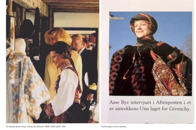 FOR GIVENCHY: Dronning Sonja besøkte utstillingen «Wool takes gold» i 1994. Skuespiller Aase Bye i et av antrekkene Unn laget for motehuset Givenchy. Skjermdump: Unn from Norway