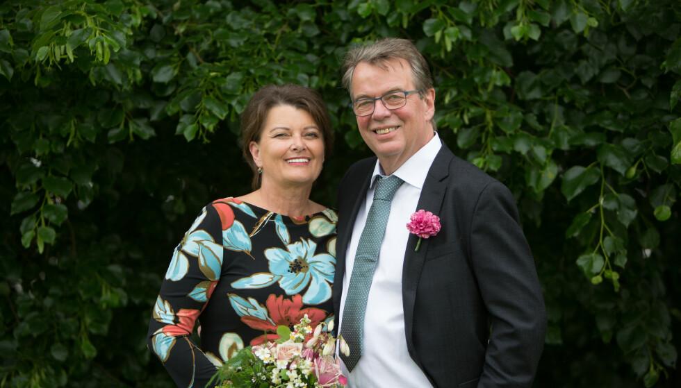 NYGIFT: Mette Urdahl Storm og Morten Heiberg Storm giftet seg i København uten gjester et drøyt halvår etter første date. Frieriet kom fire dager etter den første daten. Foto: Privat
