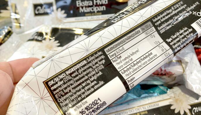 LES INGREDIENSLISTA: Der vil det stå om produktet inneholder titandioksid - eller E171, slik det står her, etter farve. Foto: Kristin Sørdal
