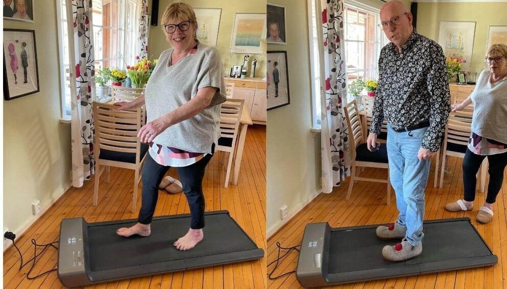 Bjørn Andersen og kona bruker WalkingPad flittig hjemme i huset i Son.