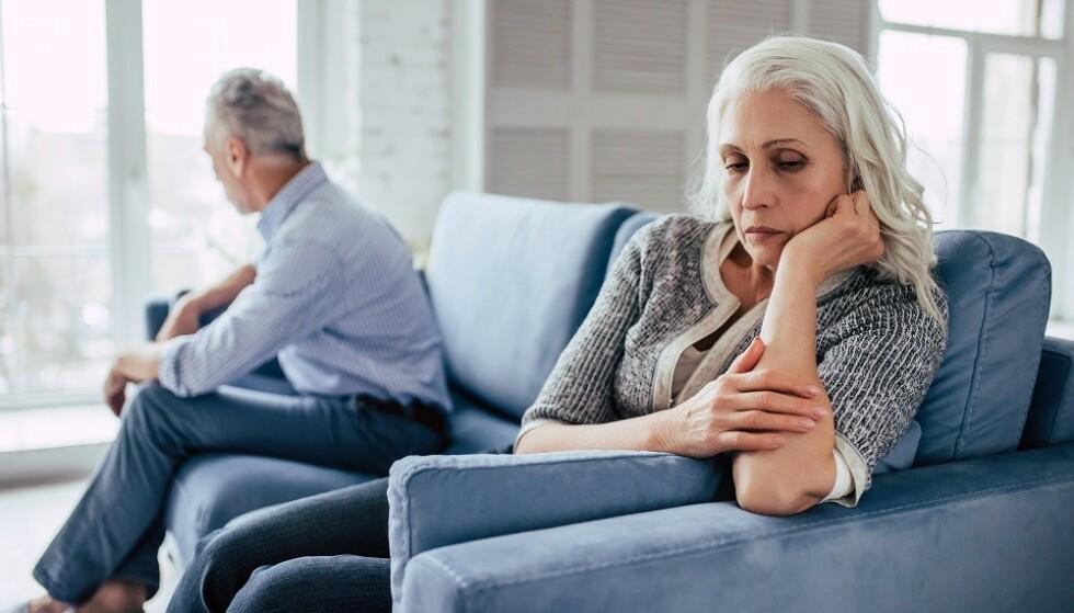 SKILSMISSER BLANT ELDRE: Skilsmissetallene blant par over 55 år har økt de siste tre tiårene. Foto: NTB