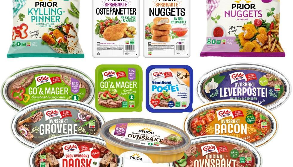 TREKKES: Funn av etylenoksid i matvarer har ført til at et hundretalls produkter er trukket fra butikkene det siste året, blant annet disse fra Nortura. Etylenoksid er et plantevernmiddel som er forbudt i matvarer fordi det kan være skadelig ved inntak over tid. Så langt er det funnet i alt fra leverpostei til krydder, frø og andre varer med ulike tilsetningsstoffer som er rammet. Foto: Nortura